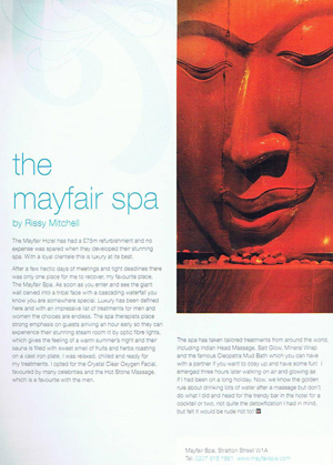 Mayfair Spa article by Rissy Mitchell